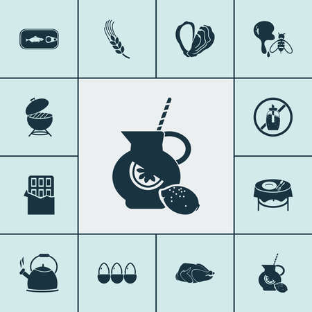 Nutrition icons set with chocolate, oyster, barbecue and other cacao elements. Isolated vector illustration nutrition icons.