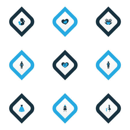 Mothers day icon colored design concept. Set of 9 such elements as baby, pregnancy and shape. Beautiful symbols for woman, mother and baby.