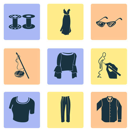 Fashionable icons set with drawing, elegant blouse, crochet and other trousers elements. Isolated vector illustration fashionable icons.