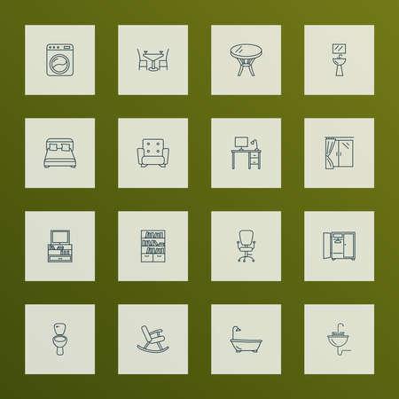 Interior icons line style set with tv stand, bookshelf, wardrobe bidet elements. Isolated vector illustration interior icons.