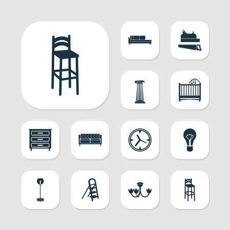 House icons set with daybed, crib, couch and other sideboard elements. Isolated vector illustration house icons.