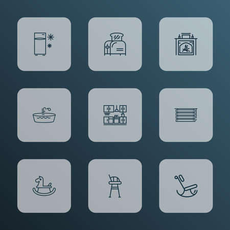 Home decoration icons line style set with bathtub, tall chair, toaster and other furniture elements. Isolated vector illustration home decoration icons.
