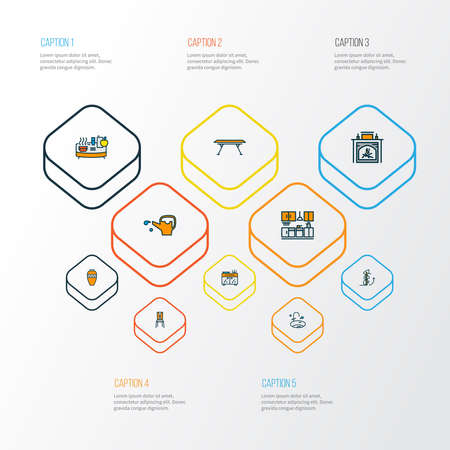 Home decoration icons colored line set with circular staircase, seat, fireplace and other flame elements. Isolated vector illustration home decoration icons. Ilustração
