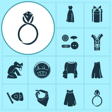 Fashion design icons set with long skirt, needle set, photograph and other fastener elements. Isolated vector illustration fashion design icons. Векторная Иллюстрация
