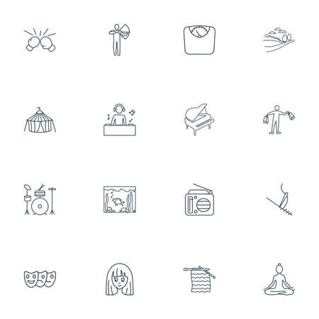 Entertainment icons line style set with cirque, aquarium, radio and other landscape elements. Isolated vector illustration entertainment icons. Иллюстрация