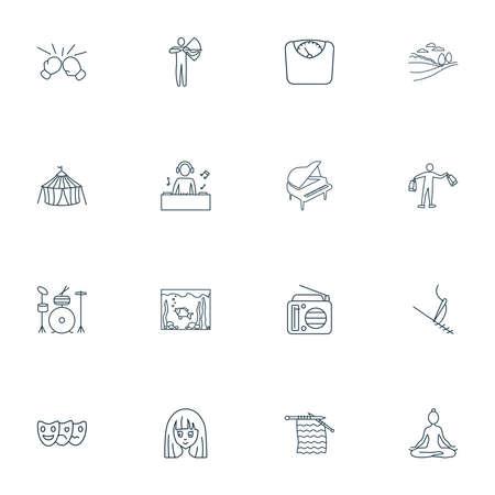 Entertainment icons line style set with cirque, aquarium, radio and other landscape elements. Isolated vector illustration entertainment icons. Ilustração
