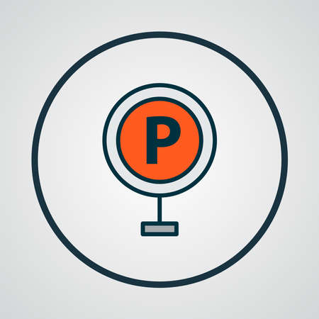 Parking sign icon colored line symbol. Premium quality isolated park zone element in trendy style. Иллюстрация