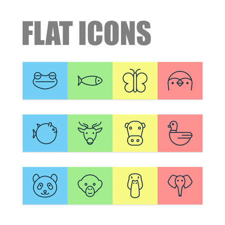 Zoology icons set with cow, seafood, butterfly and other goose elements. Isolated vector illustration zoology icons.