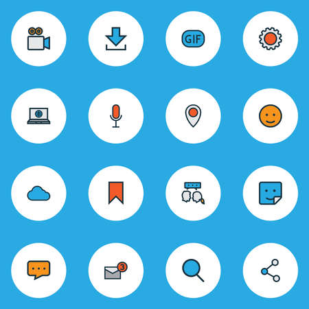Social icons colored line set with emoji, sticker, settings and other animation elements. Isolated vector illustration social icons.