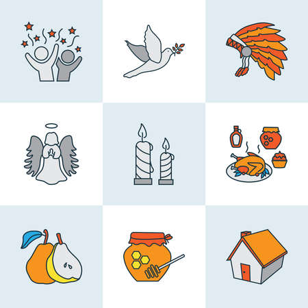 Celebration icons colored line set with dove, candles, celebration food elements. Isolated vector illustration celebration icons. Vektoros illusztráció