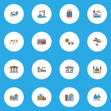 Urban icons colored line set with mosque, forest, park and other skyline elements. Isolated vector illustration urban icons.