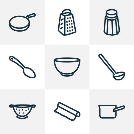 Kitchenware icons line style set with pan, salt, bowl and other slicer elements. Isolated illustration kitchenware icons. Фото со стока