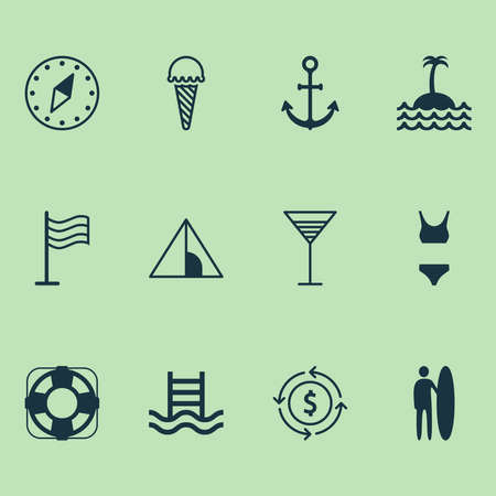 Tourism icons set with anchor, ice cream, currency exchange and other camping house elements. Isolated vector illustration tourism icons. Vettoriali