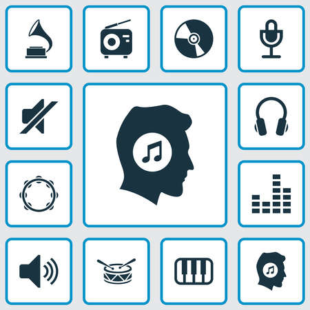 Music icons set with vinyl, music lover, mute and other earphone elements. Isolated vector illustration music icons.