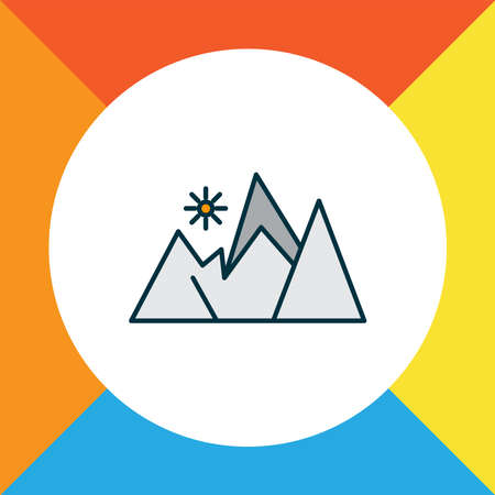 Mountains icon colored line symbol. Premium quality isolated peak element in trendy style.