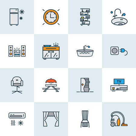 House icons colored line set with curtain, bathtub, vacuum cleaner and other wire elements. Isolated illustration house icons.