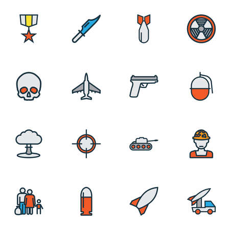 Battle icons colored line set with skull, bomb, artillery and other explosive elements. Isolated illustration battle icons.