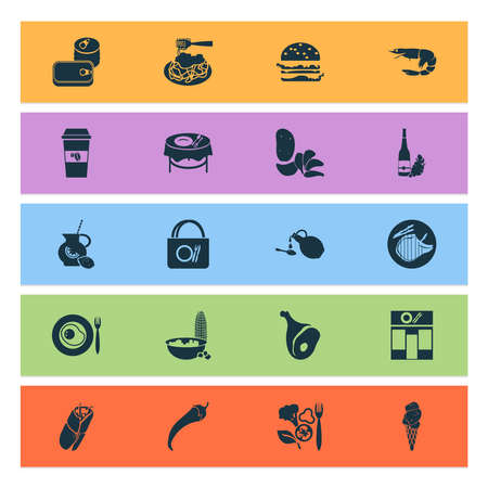 Food icons set with dining table, canned food, ice cream and other corn elements. Isolated illustration food icons.