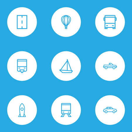 Transport icons line style set with missile, auto, cabriolet and other car elements. Isolated vector illustration transport icons.