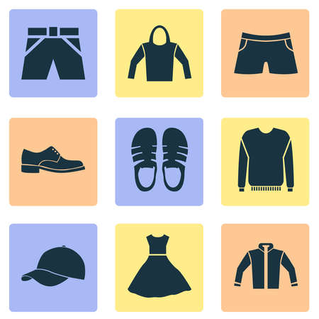 Clothes icons set with pullover, male footwear, jacket and other sweatshirt elements. Isolated vector illustration clothes icons.