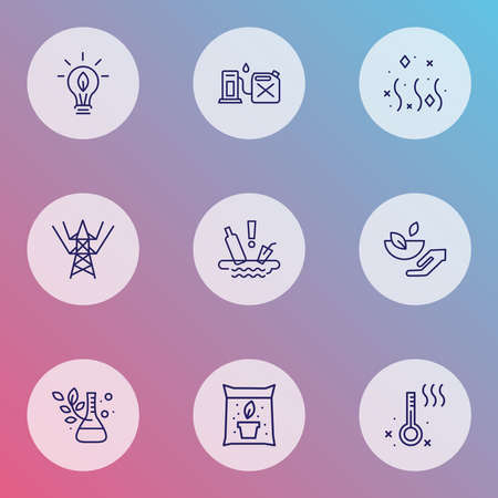 Eco icons line style set with water pollution, eco food, plant laboratory and other energy elements. Isolated illustration eco icons.