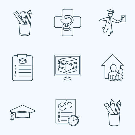 School icons line style set with digital library, pencil, home schooling and other exam  elements. Isolated vector illustration school icons.