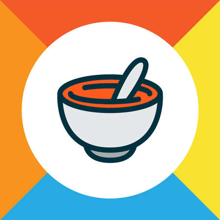 Healthy food icon colored line symbol. Premium quality isolated mortar element in trendy style.