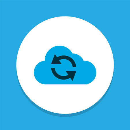 Synchronize icon colored symbol. Premium quality isolated cloud element in trendy style.