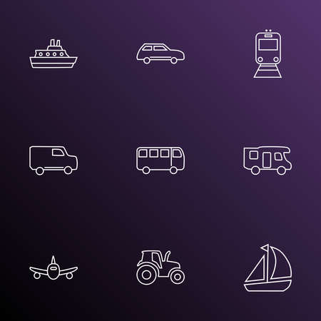 Vehicle icons line style set with cruise, bus, city car and other truck elements. Isolated vector illustration vehicle icons.
