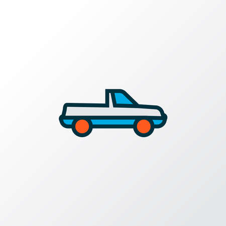 Pickup icon colored line symbol. Premium quality isolated suv element in trendy style. Illustration
