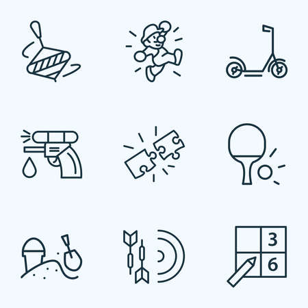 Activity icons line style set with whirligig, sudoku, water gun and other pistol elements. Isolated vector illustration activity icons.