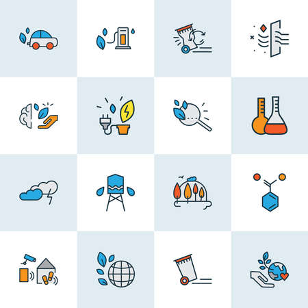 Environment icons colored line set with thunder, reduce waste, eco research and other magnifying elements. Isolated vector illustration environment icons. Illustration