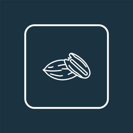Pecan icon line symbol. Premium quality isolated walnut element in trendy style.