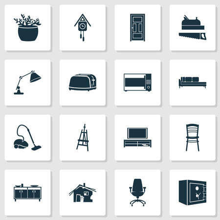 Housing icons set with seat, door, daybed and other chair elements. Isolated illustration housing icons.