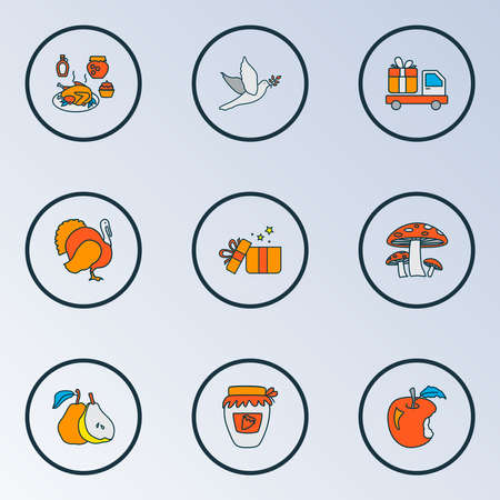 Celebration icons colored line set with turkey, gift delivery, apple and other jonagold elements. Isolated illustration celebration icons. Stock Photo