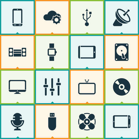 Technology icons set with flash drive, smart watch, sound system and other desktop elements. Isolated vector illustration technology icons. Vektorové ilustrace