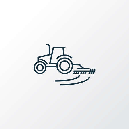 Cultivator icon line symbol. Premium quality isolated tractor plow element in trendy style.