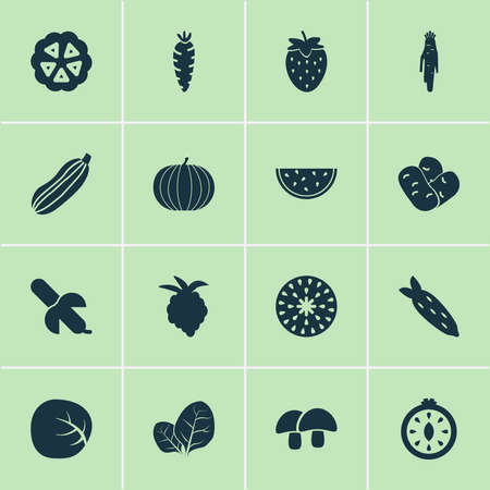 Fruit icons set with root vegetable, tropical fruit, zucchini and other melon elements. Isolated vector illustration fruit icons. Illustration
