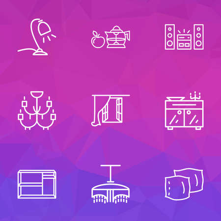 House icons line style set with pillow, chandelier, window desk light elements. Isolated vector illustration house icons. Vector Illustratie