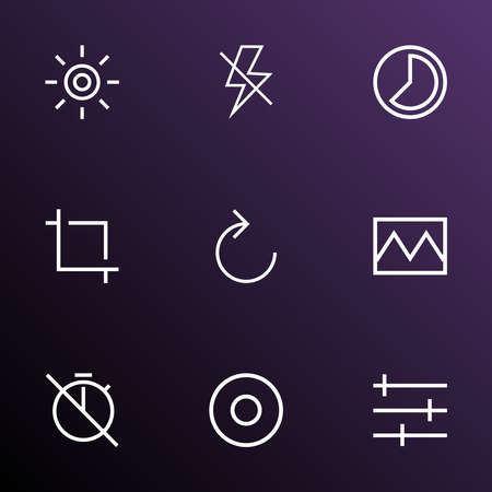 Image icons line style set with photo, center focus, dartboard and other chronometer elements. Isolated vector illustration image icons.