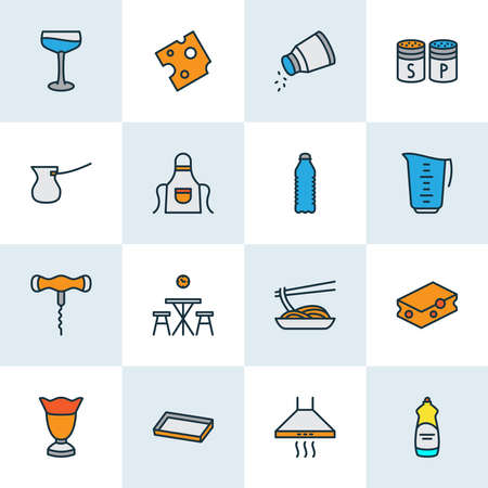 Culinary icons colored line set with corkscrew, cheese, cocktail glass and other soda elements. Isolated illustration culinary icons.