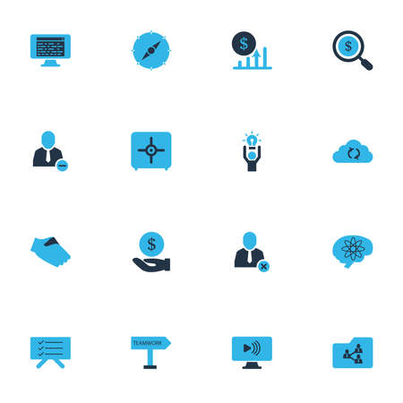 Job icons colored set with social webinar, safe, planning board and other creative person elements. Isolated vector illustration job icons.