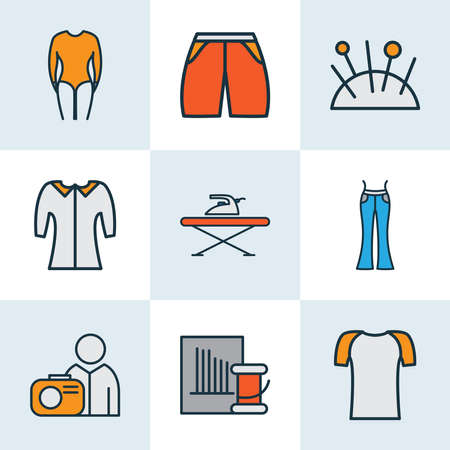 Fashionable icons colored line set with shorts, flared jeans, mid sleeve and other bell sleeve shirt elements. Isolated vector illustration fashionable icons. Иллюстрация
