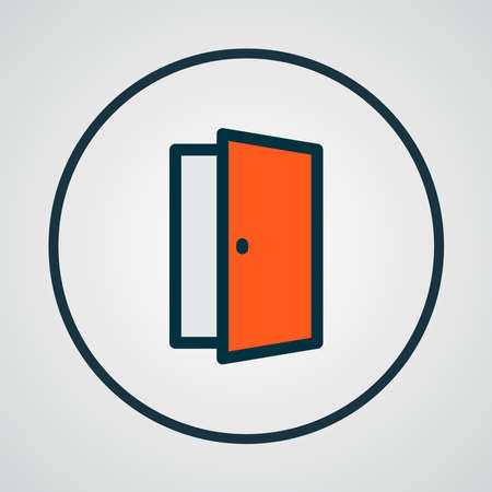 Door icon colored line symbol. Premium quality isolated approach element in trendy style. Иллюстрация