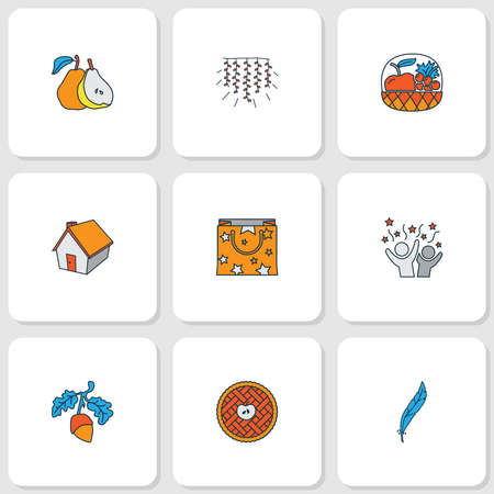 Festival icons colored line set with small hut, acorn, apple pie and other harvest elements. Isolated vector illustration festival icons.