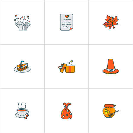 Thanksgiving icons colored line set with celebration, hot coffee, gift sack and other paper elements. Isolated vector illustration thanksgiving icons.