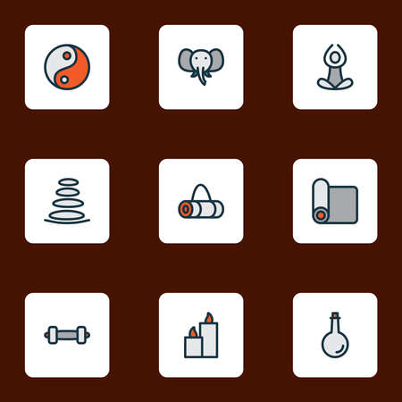 Relax icons colored line set with dumbbell, oil bottle, paraffin and other wick wax elements. Isolated vector illustration relax icons.