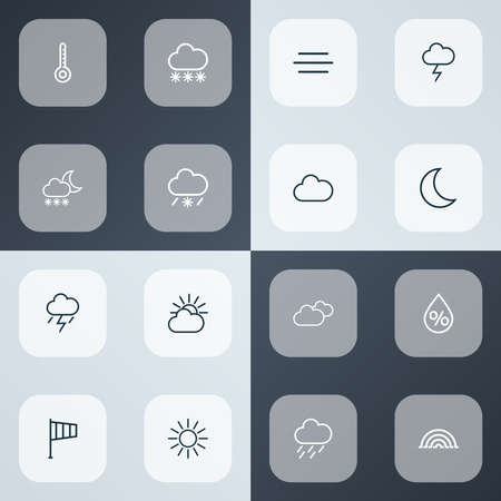 Climate icons line style set with rainstorm, overcast, arc and other cloud sky elements. Isolated vector illustration climate icons.