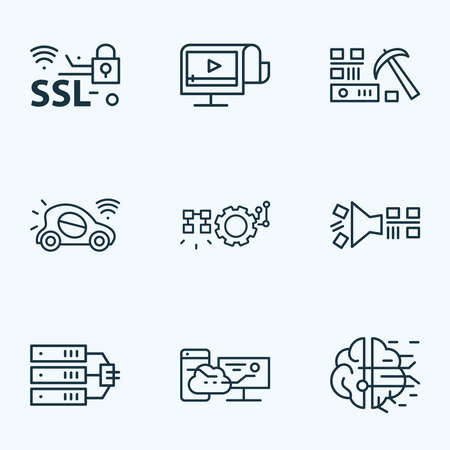 Information technology icons line style set with data server, artificial intelligence, data filtering and other database elements. Isolated vector illustration information technology icons. Ilustração