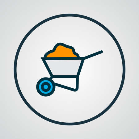 Wheelbarrow icon colored line symbol. Premium quality isolated cart element in trendy style.